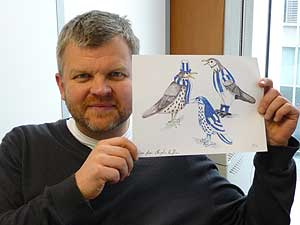 Adrian Chiles with Baggy Bird Drawing
