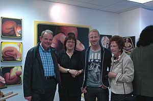 Angela Hallam at her painting exhibition in Coventry